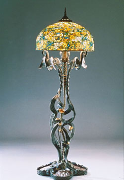 """Preening Swans with Yellow Roses"" Floor Lamp by E. A. Chase"